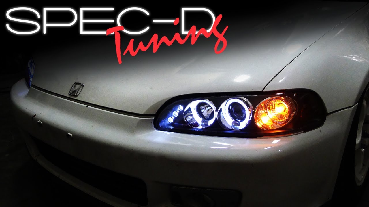 specdtuning installation video 1992 1995 honda civic one piece projector headlights youtube [ 1280 x 720 Pixel ]