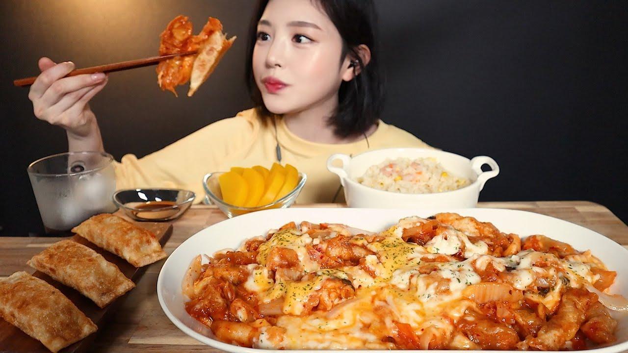 SUB)치즈가득 꾸덕꾸덕 김치피자탕수육 먹방 ! 새우볶음밥 피자만두까지 꿀조합 리얼사운드 Kimchi pizza tangsuyuk mukbang ASMR