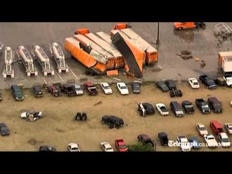 Giant tornado rips through Texas flinging trucks through the air