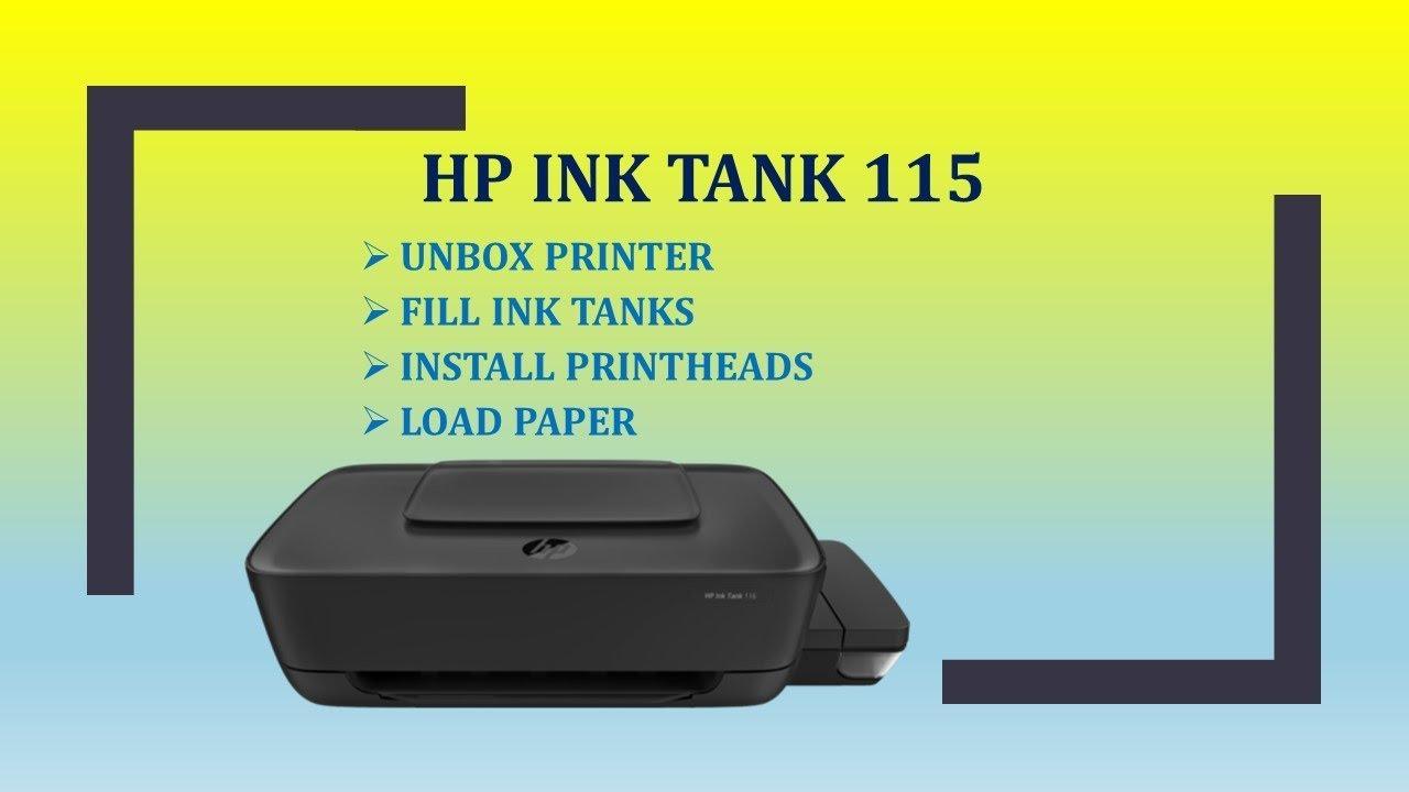 HP Ink Tank 110 | 115 | 118 printer : Unbox, Fill Ink Tank, Install  printheads & Load paper