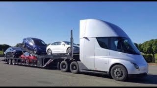 New Video - Tesla Semi Truck Carrying & Delivering Teslas in the Wild