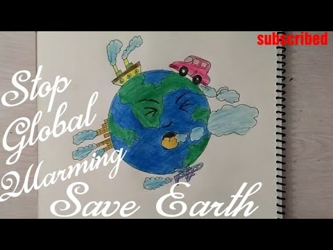 How to draw save earth drawing for kids stop global warming stop air pollution drawing