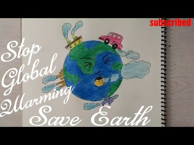 How to draw Save Earth drawing for kids    Stop Global Warming    Stop Air Pollution    drawing    #1