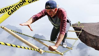 DONT Fall off the Impossible Ladder!! (EXTREME CARNIVAL GAMES)