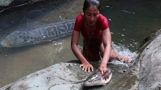 Life skills: Catch a Big fish by Hand for Food forest - Grilled Big fish for Lunch food ideas Ep 20