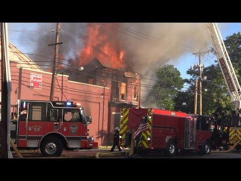 Orange NJ Fire Department 3rd Alarm Fire 350 Washington St Heavy fire in a Vacant Factory