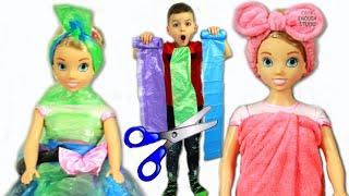 Masha makes new dresses for Doll