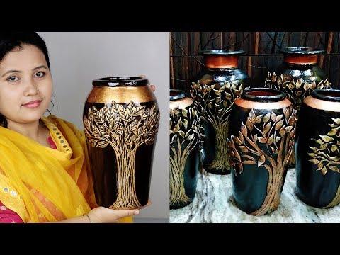 Big Size Awesome Flower vase making // Cement flower vase at home