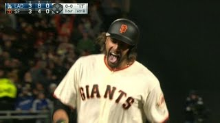 LAD@SF: Morse ties the game with pinch-hit homer
