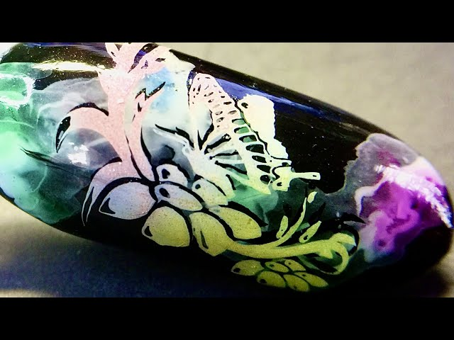 Live_ Smoky butterfly floral nail art with sticky stamping polish and watercolor polish _SheModern