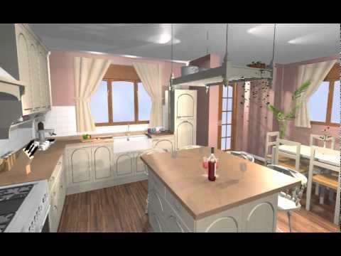 Una gran cocina en madera lacada de estilo ingles con isla y office ...
