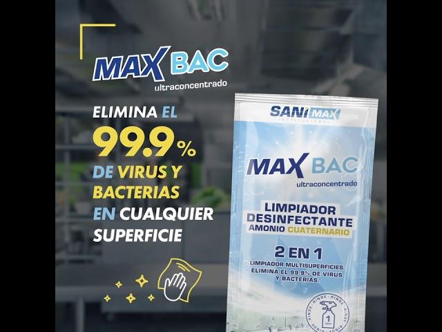 Max BAC - Limpiador Desinfectante dos en uno de amonio cuaternario