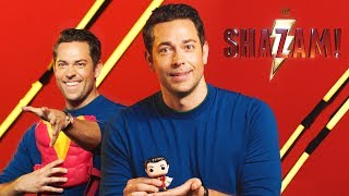 Zachary Levi sees his SHAZAM! Toys for the first time! | DC Kids