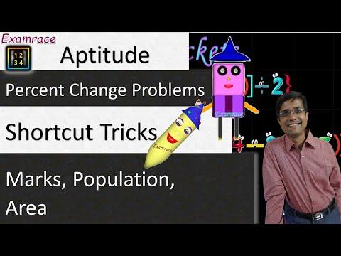 Percent Change Problems (Aptitude): 15 Sec Shortcut Tricks (Marks, Population, Area)