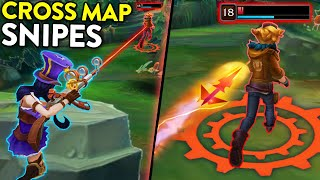 34 AMAZING Long Range Kills | PERFECT SNIPES in League of Legends