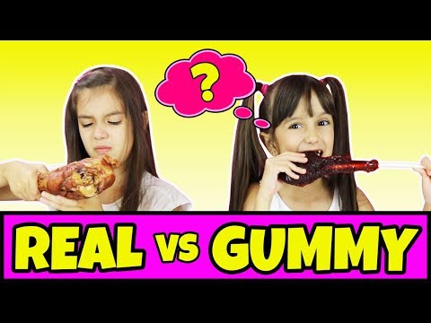 Thumbnail: Real Food vs Gummy Food Challenge Part 5 - Switch Up Edition - Gross Giant Gummy Candy