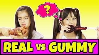 Real Food vs Gummy Food Challenge Part 5 - Switch Up Edition - Gross Giant Gummy Candy