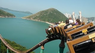 Wild West Mine Train Roller Coaster Back Seat POV Ocean Park Hong Kong China