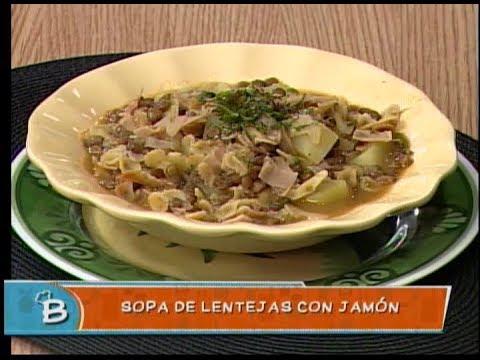 Sopa de lentejas con jamón