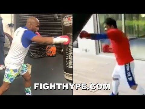 MAYWEATHER & PACQUIAO SIDE-BY-SIDE HEAVY BAG WORK JUST DAYS APART; BOTH STILL GOT IT IN THEIR 40'S