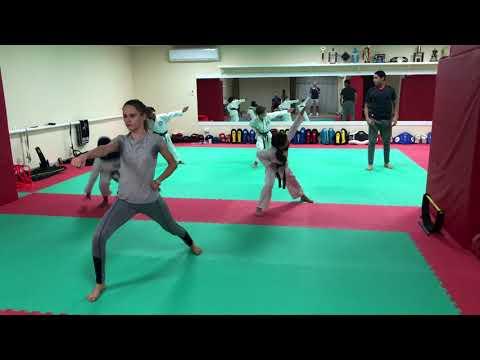 Kata training in Ali Al Raisi karate school