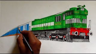 Green WDM3A with Humsafar Express Sketching