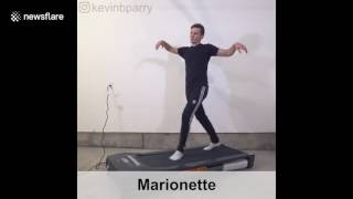 man hilariously demonstrates 100 ways to walk on a treadmill