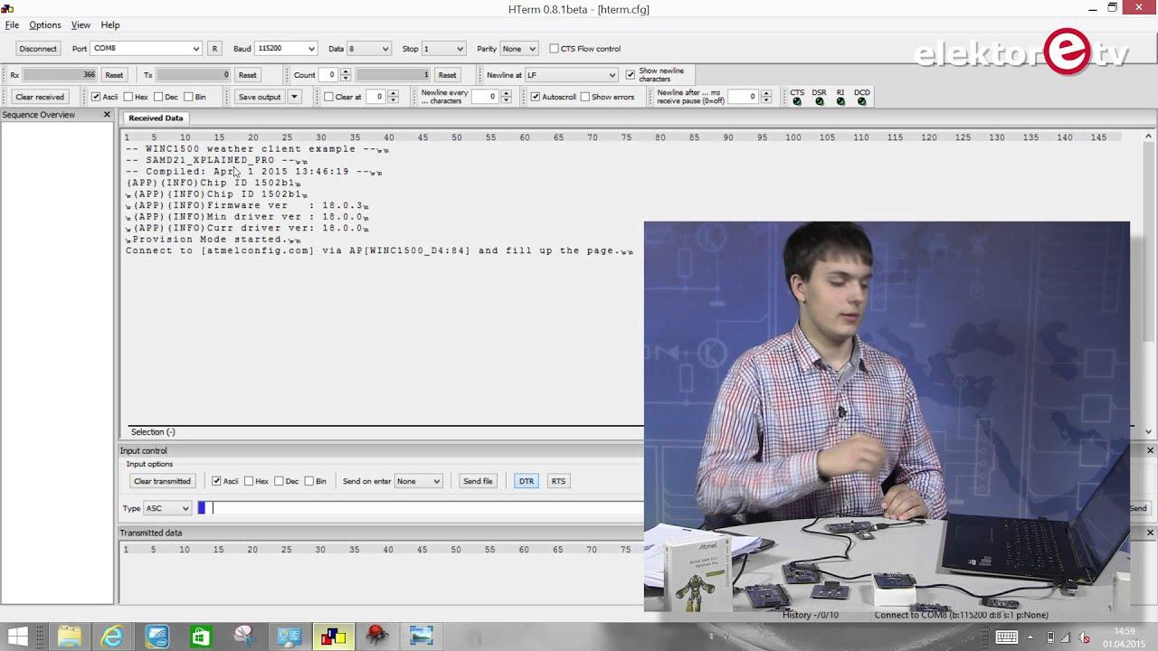 Demo-Programm Weatherclient mit Atmel SAM D21 Xplained Pro und dem  WINC1500-Board (Deutsch)