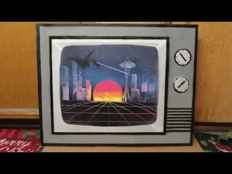 80's Sunset – Spray Paint art on canvas