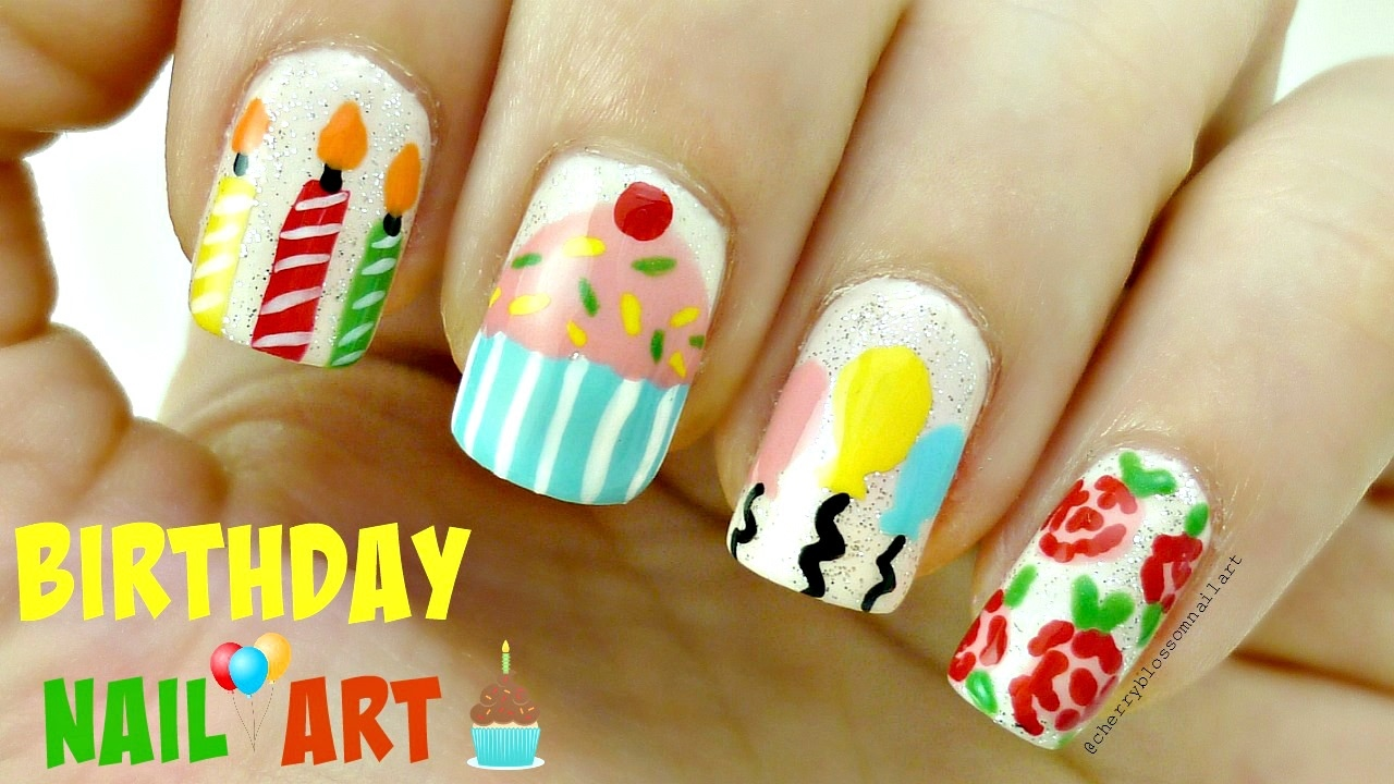 Happy Birthday Nail Art Design Candles Balloons Cupcake And