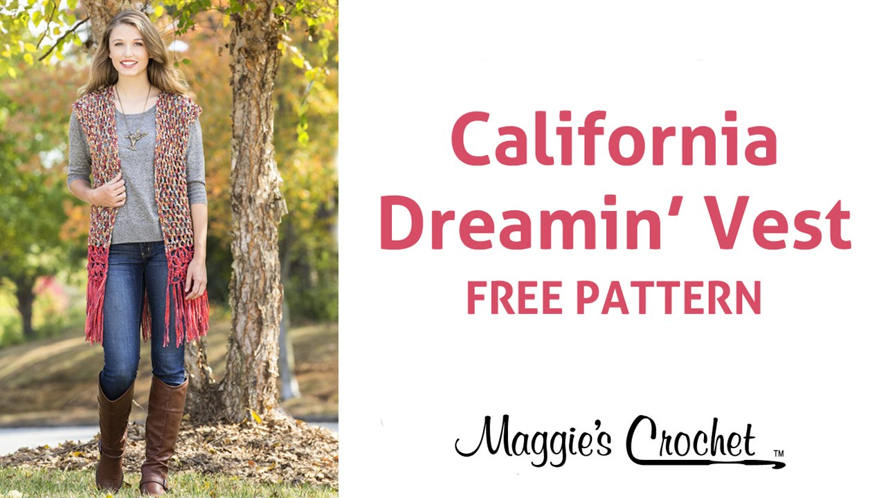 California Dream Vest Free Crochet Pattern - Right Handed - YouTube