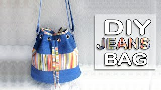 DIY RAINBOW JEANS BAG LONG STRIP TUTORIAL // Cute Woman Bag Idea