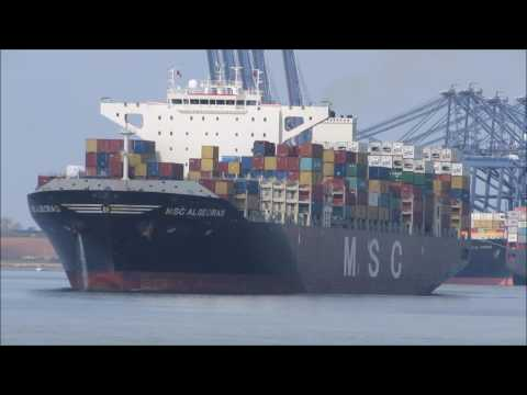 MSC Algeciras departs after her 1st call to the Port of Felixstowe 060417