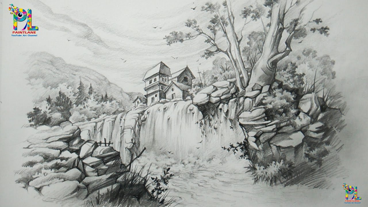 How to draw a landscape with waterfall with pencil pencil art