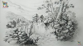 How To Draw A Landscape With Waterfall With PENCIL | Pencil Art