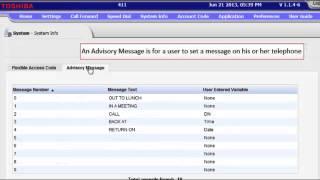 Toshiba VIPedge: Advisory Message