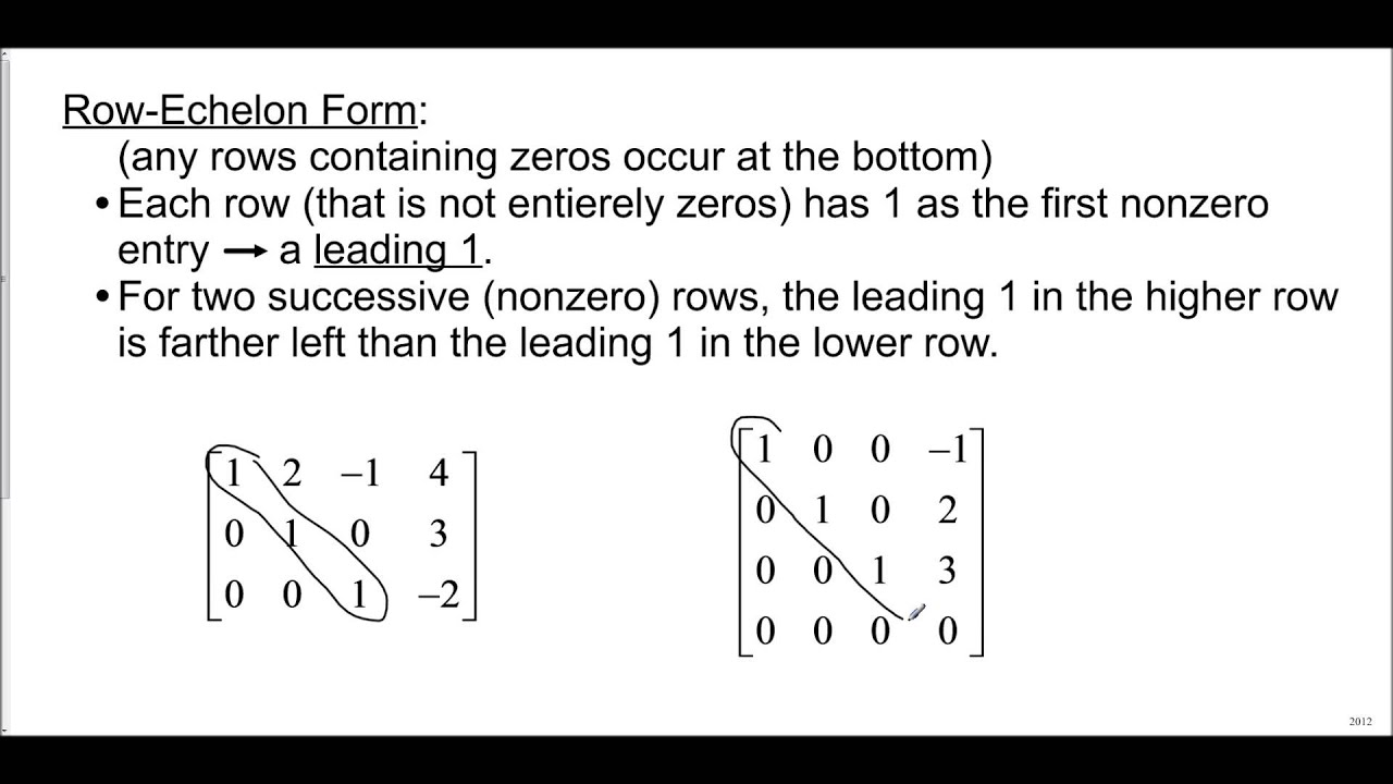 Matrices - Row Echelon Form - YouTube