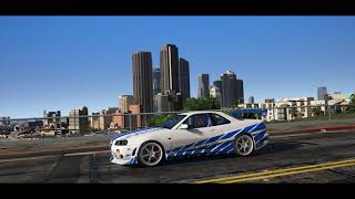 Grand Theft Auto V -  Best Graphic Mod 2018 - Nissan Skyline GTR R34 2F&2F 60FPS