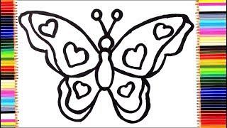 Как нарисовать бабочку / Рисуем и раскрашиваем бабочку для детей | Раскраски малышам