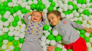 Indoor Playground Fun for Kids and Family Play Slide Rainbow Colors Balls with Miss Lana