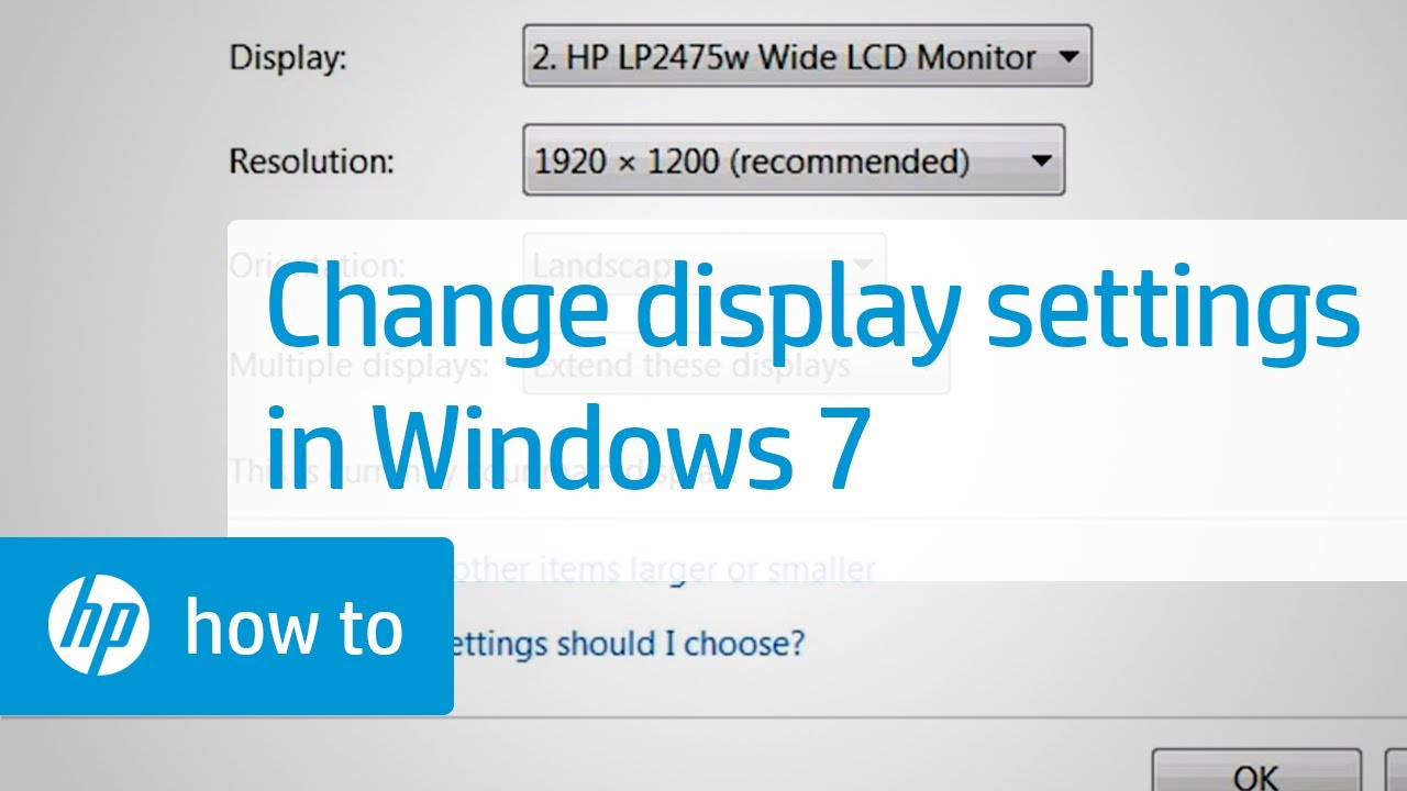 Changing the Display Settings in Windows 7 | HP Computers | HP