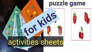 Puzzle game and puzzle activities sheets for kids