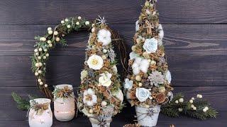 Ёлочка из природных материалов с цветами из фоамирана своими руками | Tavifa