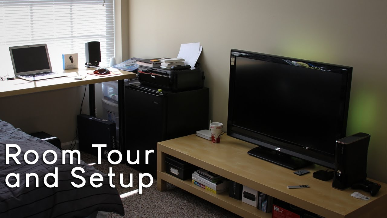 College tech office setup gaming setup room tour 2013 for Small room 7 1 setup