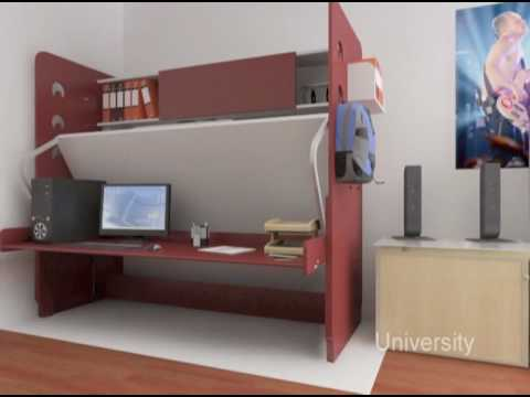 hiddenbed space saving bed desk system - Space Saving Desk