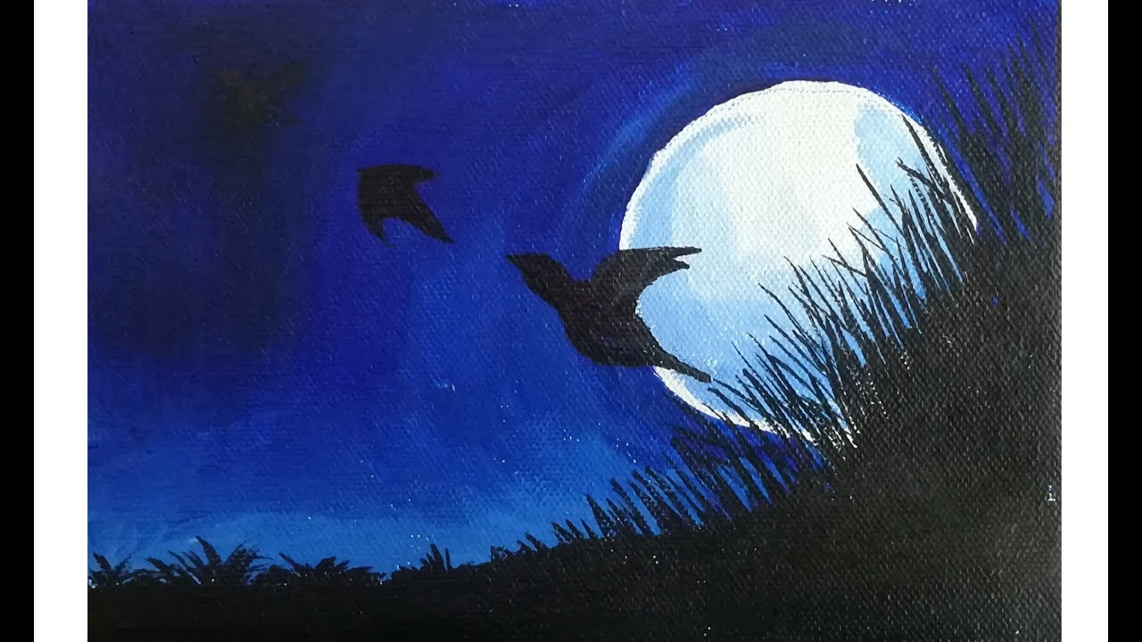 Moonlight Night Birds Poster Color Painting Easy Painting For