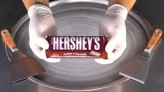 ASMR - Chocolate Ice Cream Rolls | oddly satisfying Hersheys Ice Cream - tapping & scratching Sounds