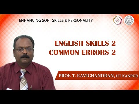 Lecture 22: English Skills-2: Common Errors-2