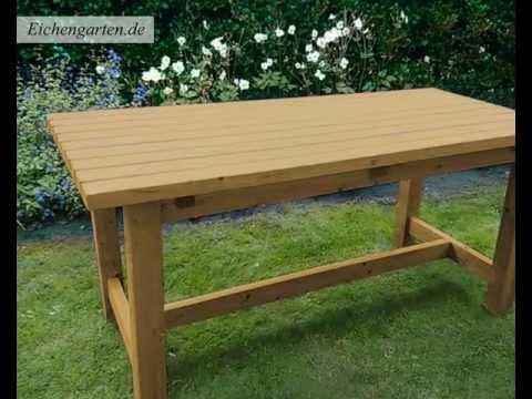 Gartentisch rund holz selber bauen  Gartentische aus Naturholz - YouTube