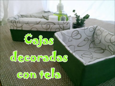 Caja de cart n decorada con tela youtube - Cajas para decorar manualidades ...